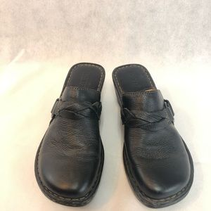 Brown leather born clogs size 8
